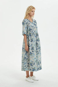 blue cotton dress, Printed princess dress, maxi cotton dress for womens-loose and casual dress, V neck & midi sleeve dress for summer C1278