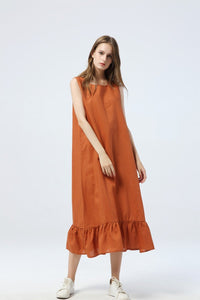 women summer casual linen dress without sleeves C1286