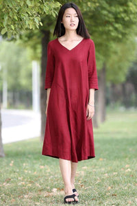 Red Linen Dress - Midi Length Loose-Fitting Plus Size V-Neck Casual Everyday Comfortable Womens Clothing C264