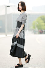 Load image into Gallery viewer, Gray Linen Dress - Black Grey Stripey Fit & Flare Elegant Dress with Round Neck and Ruched Sleeves (C350)
