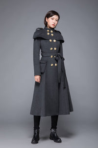 Gray coat, womens coat, wool coat, winter coat, long coat, gray wool coat, womens wool coat, double breasted coat, coat with pockets C1220