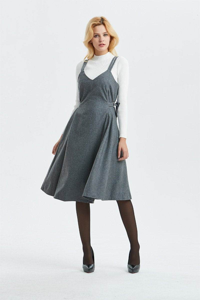 Gray wool dress, pinafore dress for women- midi length dress, casual & fit dress, adjustable pleated dress- fashion wool dress C1299