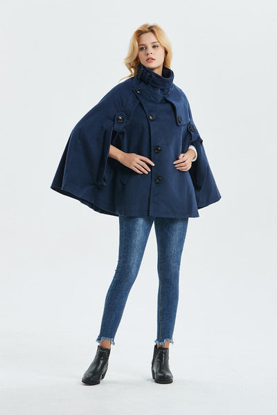 Cape coat, Warm winter cape, Womens cape, Short wool coat, Blue cape, Handmade cape, plus size cape, stylish cape, fashion coat  C1319