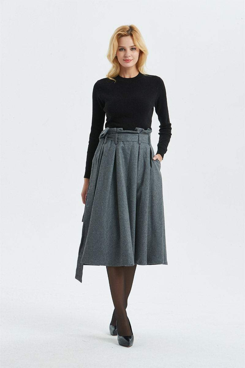 Gray wool skirt, midi length pleated skirt with pockets & warm wool skirt for elegant womens, winter high waisted skirt with belt C1289