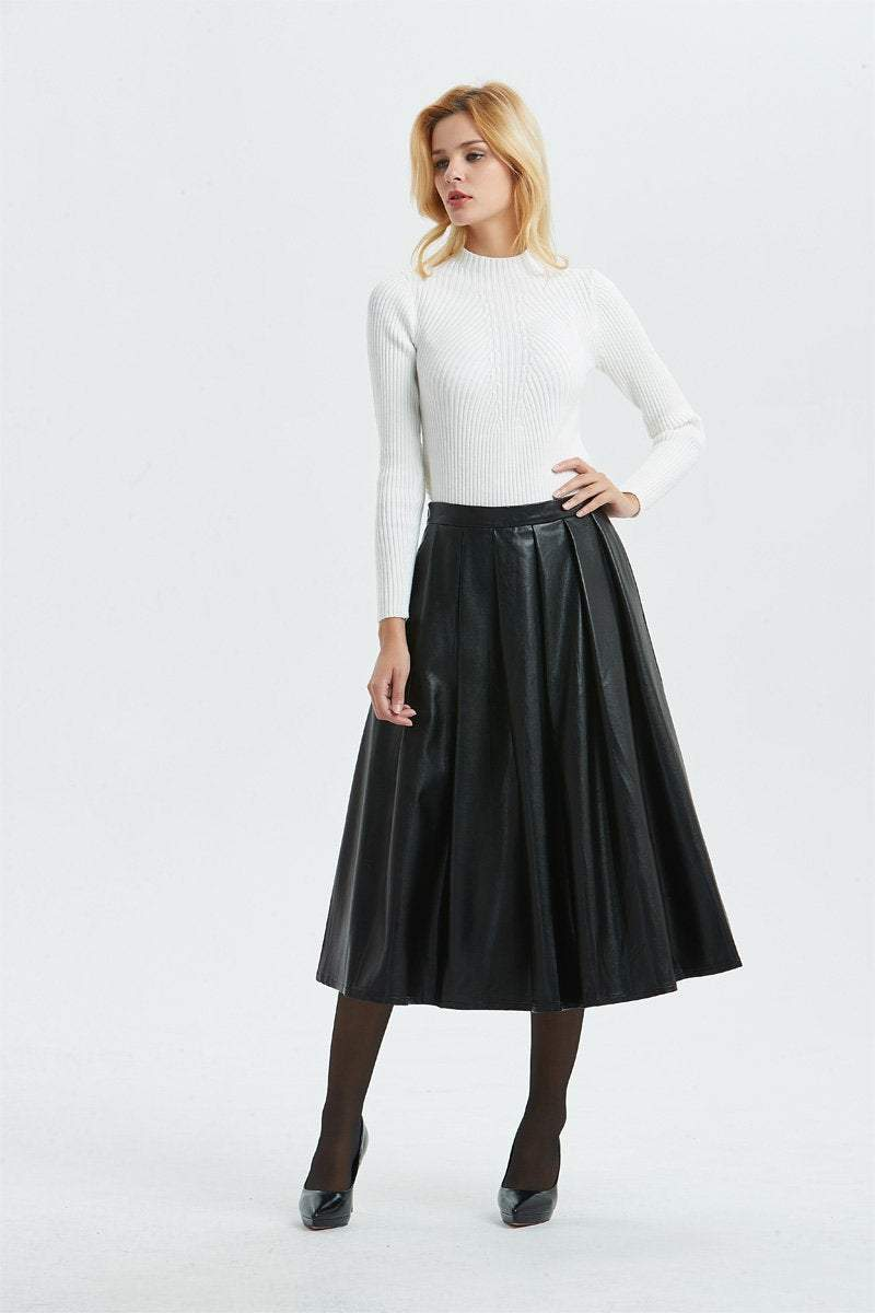 Black PU skirt, PU skirt - midi skirt-womens winter skirt-black skirt, faux leather skirt for winter, warm winter skirt-fashion skirt C1296