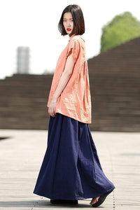 Long skirt, Pleated skirt, Blue skirt, Maxi Skirt, Linen skirt, Simple skirt, Casual Woman's Skirt Plus Sizes Women's Handmade Clothing C330