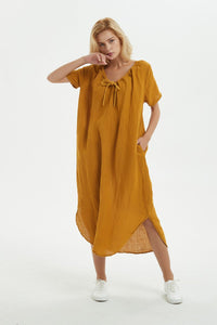 yellow Linen dress, long asymmetrical dress for women - loose and casual dress, custom plus size dress, fashion linen dress for her C1277