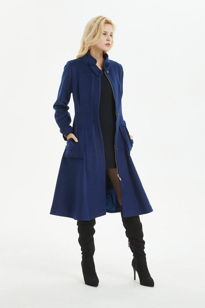 Blue coat, warm wool coat for winter, womens wool coat with pockets - custom midi fitted coat, elegant wool coat - best gift for her C1282