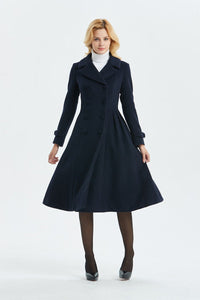 blue wool coat, warm coat, winter coat, midi coat, double breasted coat, navy blue coat, blue wool coat, womens coat, elegant coat C1340