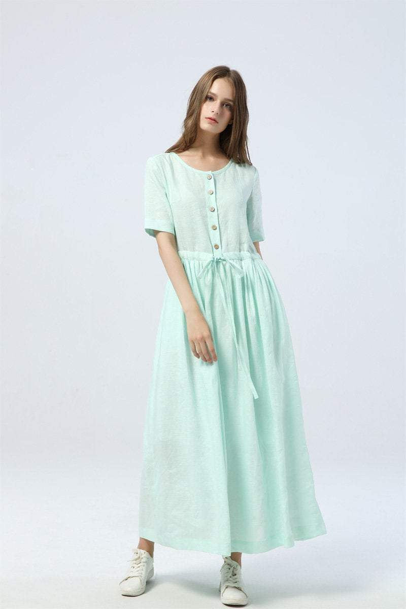 mint green dress, long linen dress for summer, drawstring skirt with buttons, women's dress with pockets - maxi dress & gift for her C1284