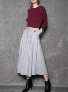 gray wool skirt, womens skirt, wool skirt, warm skirt, winter skirt, gray skirt, pleated skirt, womens wool skirt, Skirt with pockets  C737