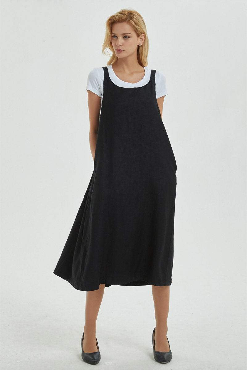 black pinafore dress, linen dress, loose and casual dress for womens- plus size &  sleeveless dress with pockets, cuatom fashion dress C1287