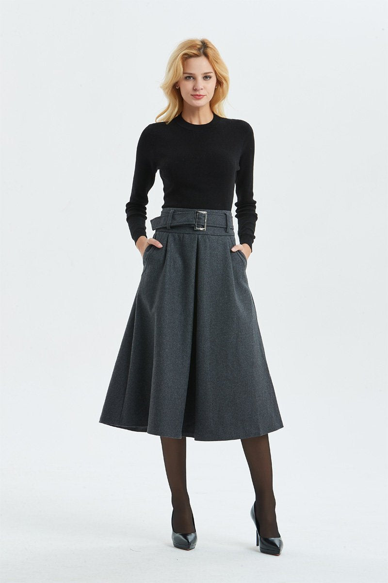 Gray skirt, Winter warm wool skirt - womens skirts with belt, midi skirt & pleated skirt, Gray wool skirt - skirt with pockets C1291