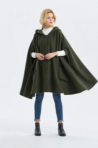 hooded cape, warm winter cape, wool poncho, plus size cape coat, fashion handmade cape, casual coat, oversized cape, womens cape C1331