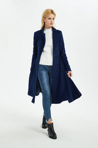 blue wool coat, winter wool coat, women coat, fit and flare coat, blue coat, warm coat, coat with pockets, winter warm coat C1372