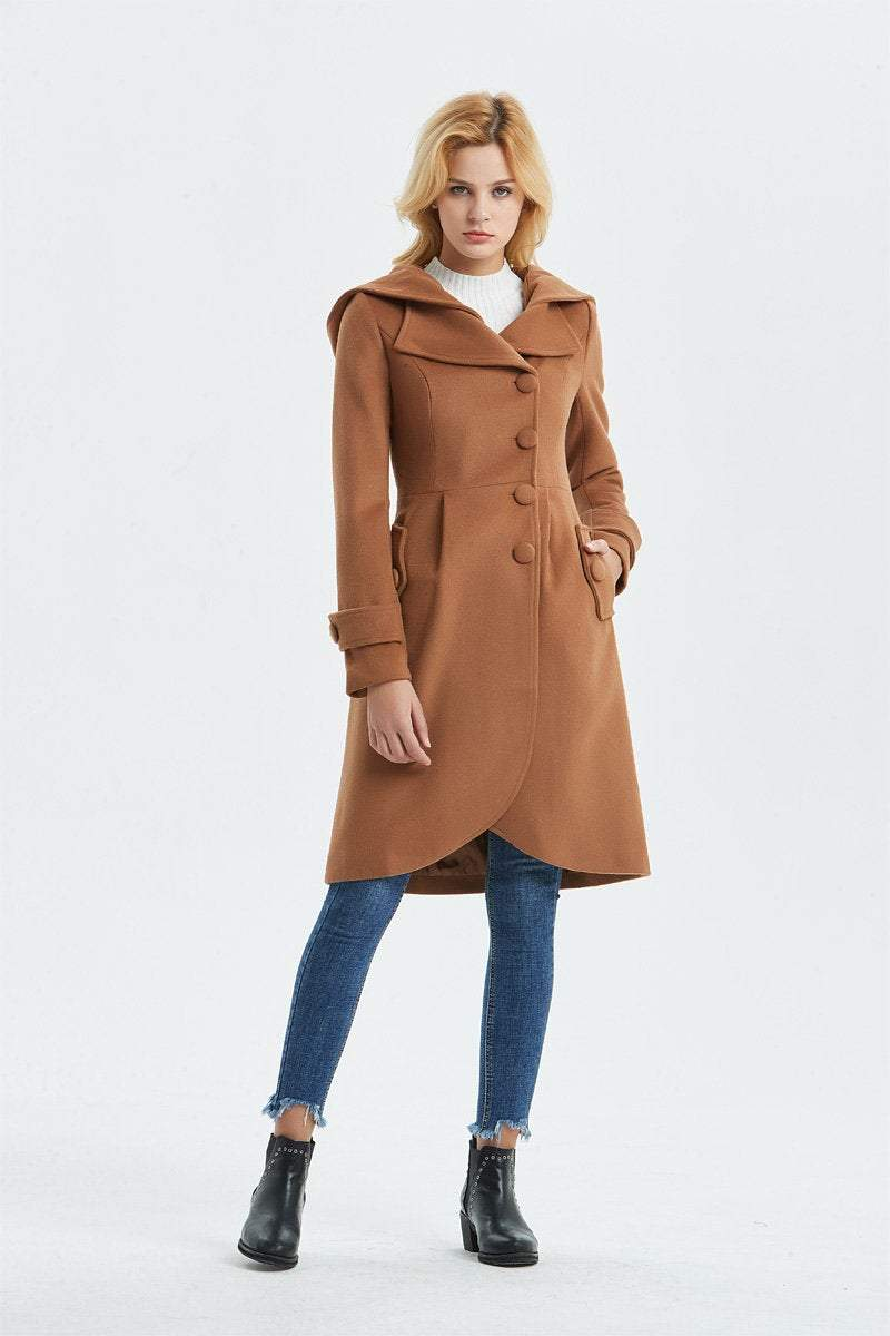brown wool coat, casual coat, warm coat, asymmetrical coat, midi coat, womens hooded coat, winter coat, vintage coat, coat with pocket C1321