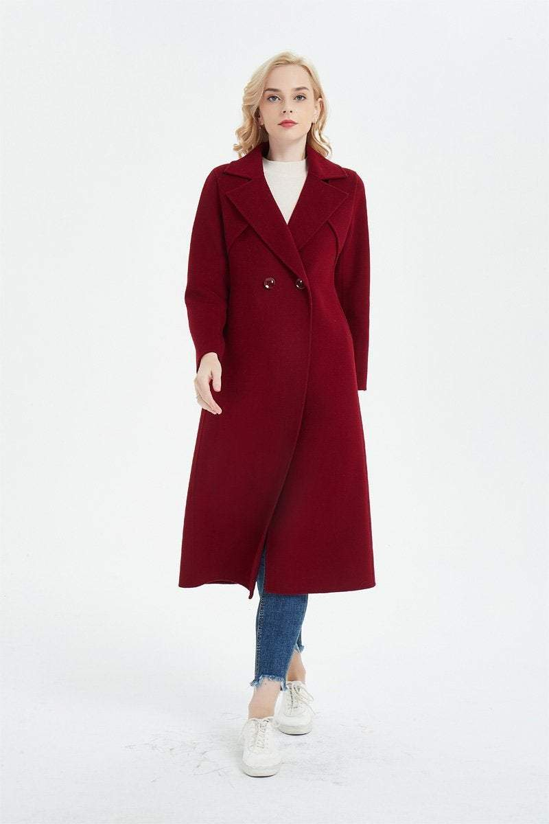 Red wool coat, winter coat, womens coat, long coat, wool coat, winter wool coat, womens wool coat, long wool coat, pockets coat C1356