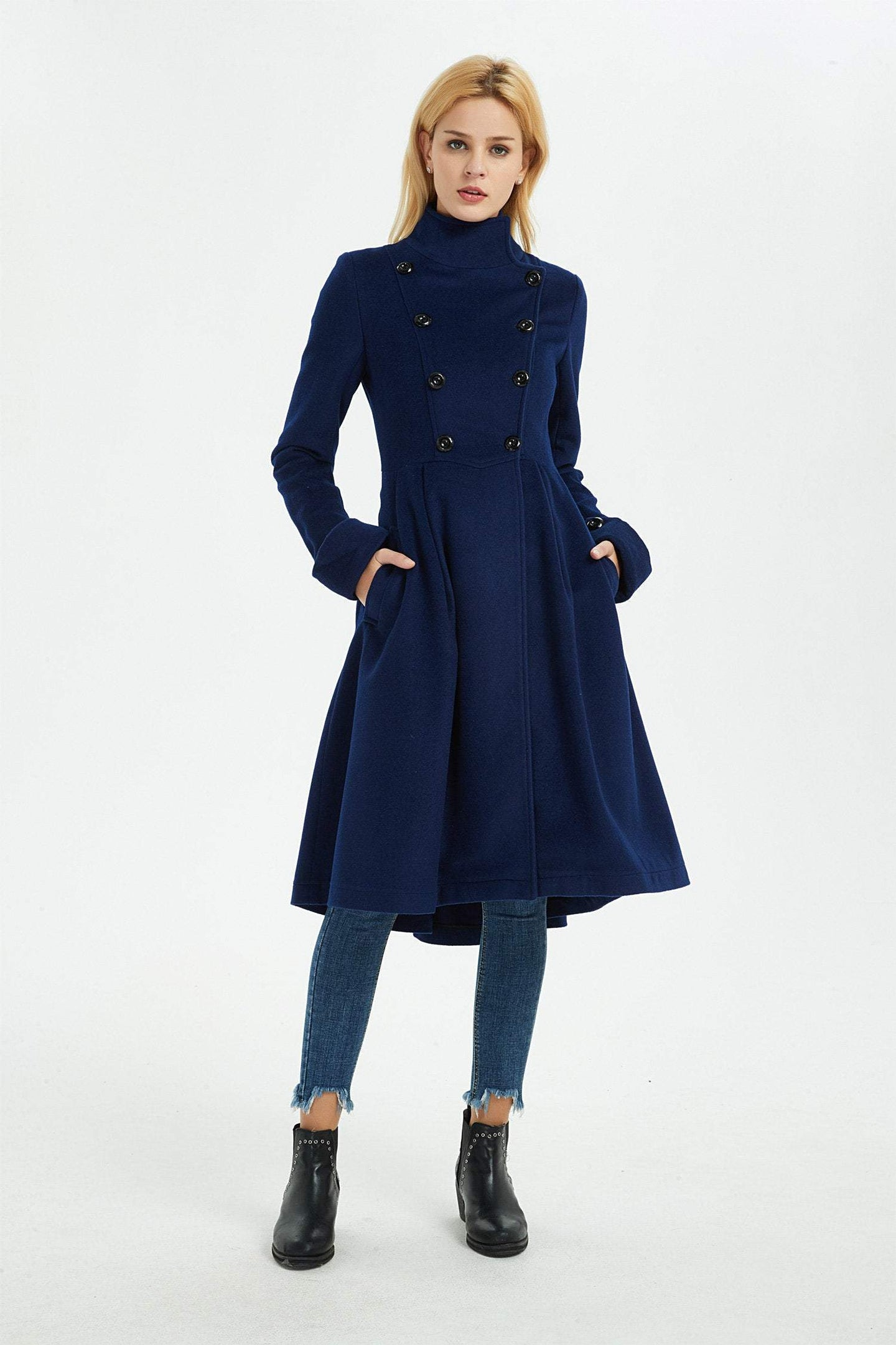blue wool coat, women winter overcoat, warm asymmetrical coat, coat with pockets, blue wool coat, wool coat women C1371