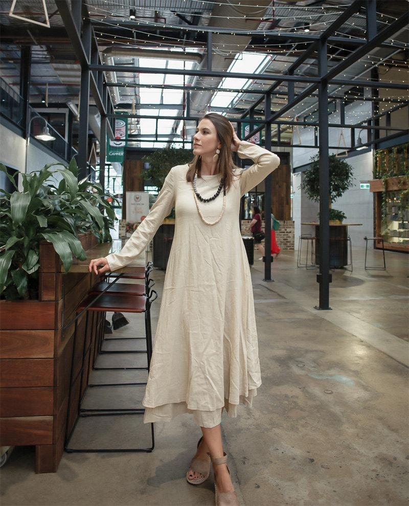 Womens midi linen dress, beige linen dress, linen casual dress, layed womens dress, long linen dress C1380