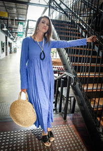 Blue long linen dress, linen womens dress, womens casual linen dress, maxi dress with pockets, plus size linen dress C1378