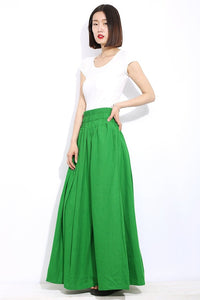 Green linen womens skirt,  maxi womens summer skirt, long skirt with pockets, elastic skirt, Long linen skirt, linen pleated skirt C310