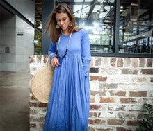 Load image into Gallery viewer, Blue long linen dress, linen womens dress, womens casual linen dress, maxi dress with pockets, plus size linen dress C1378