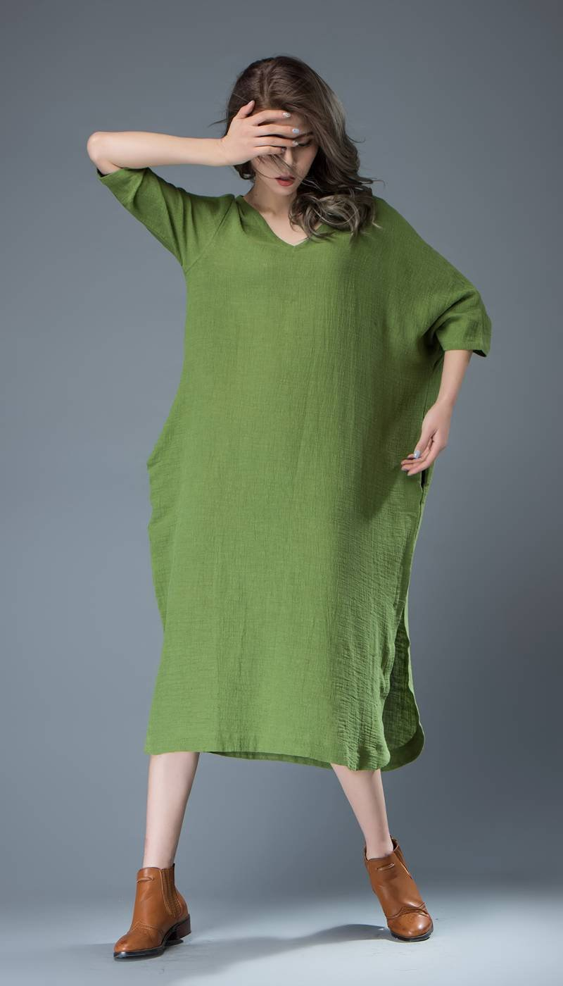 Green Linen dress, midi dress, womens dresses, plus size dress, summer dress, handmade dress, custom dress, dress with pockets C818