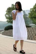 Load image into Gallery viewer, White Cotton Boho Dress - Cool Loose-Fitting Midi Length Summer Floaty Dress with Pintucks and Cap Sleeves C260
