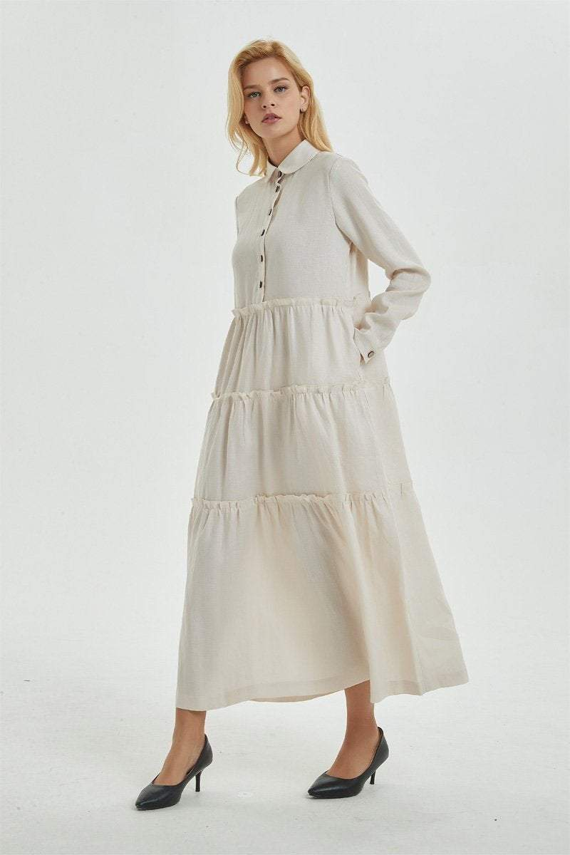 Beige linen dress with pockets, long dress with classic shirt collar & long sleeves, loose and casual dress, maxi retro dress for her C1274