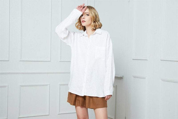 Linen shirt, white linen shirt, washed linen shirt, Linen shirt for women, oversized linen shirt, linen blouse with long sleeves C1390