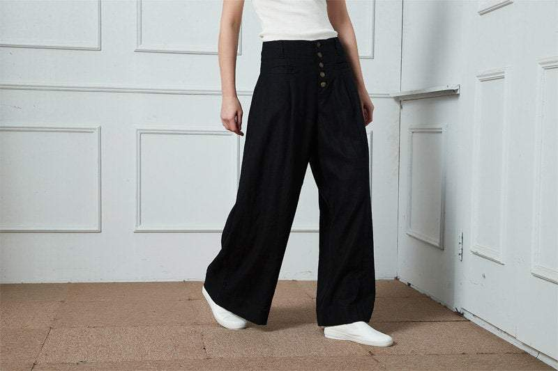 Linen Pants, wide-legged pants, Long linen Pants, Black linen pants, women pants, linen palazzo pants, buttons pants, pockets pants C1400