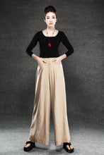 Load image into Gallery viewer, Linen Pants, wide-legged pants, Long linen Pants, Black linen pants, women pants, linen palazzo pants, buttons pants, pockets pants C1400