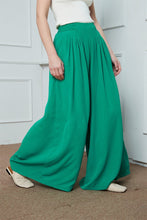 Load image into Gallery viewer, Wide-Legs Chiffon Long Pants, Pleated Wide Leg Pants, green chiffon maxi pants, Chiffon casual womens pants, summer pants for womens C1387