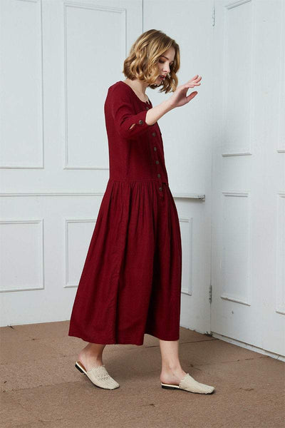 Linen Shirt-Dress/casual dress/Button Linen Shirt-Dress/ Red linen dress/Ylistyle dress