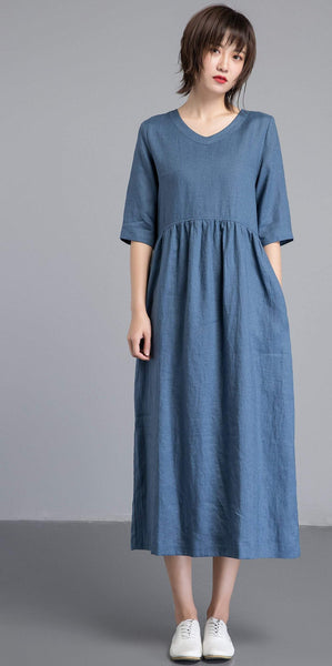 Simiple linen dress, Blue linen dress, womens dresses, long linen dress with pockets, loose linen dress, linen clothing C1256
