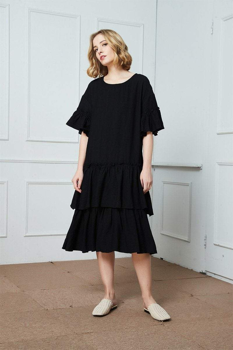 Black cotton ruffle dress, oversized cotton dress, midi dress, womens dresses, summer dress C1407