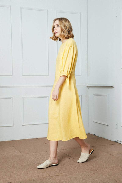 Linen Dress, Yellow Linen dress,  Midi Dress, Womens Dresses, Organic Linen Dress, Summer Dress C1409