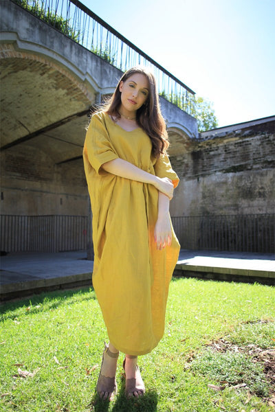 Linen dress, oversized dress, yellow dress, drawing string dress, womens dresses, linen casual dress, pockets dress