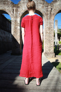 Linen dress, red linen dress, loose linen dress, womens linen dress, maxi linen dress, summer dress C1487