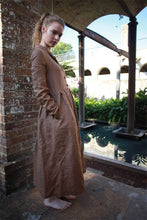 Load image into Gallery viewer, Brown linen dress, linen shirt dress, shirt dress women, simiple linen dress, womens shirt dress, linen casual dress C1493