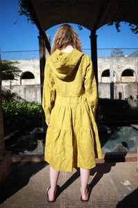 Greenish mustard dress, linen dress, oversized linen dress, linen casual dress, drawstring waist dress, midi dress, womens dresses C1488