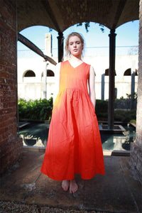 Linen dress, orange Linen Dress, Maxi Neutral Color V-neck Sleeveless Loose-Fitting Summer Dress with Pocket C1492