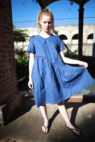 Tunic dress, mini linen dress, linen dress, oversized dress, womens dresses, simple linen dress, blue dress, summer dress C1489