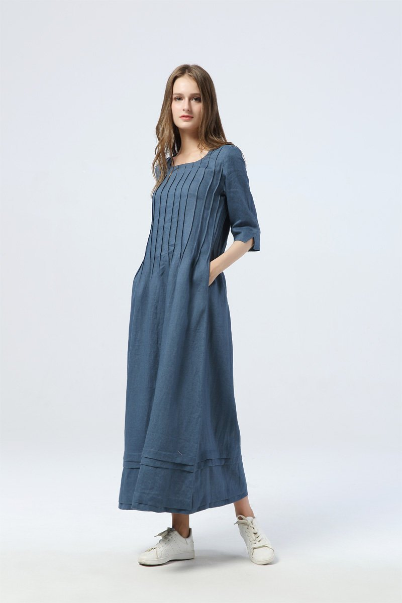 blue pleated dress, long linen dress with pockets, loose&casual dress - women dress - elbow sleeve dress, custom dress for women  C1283