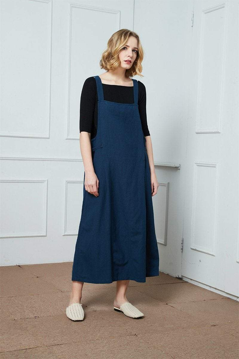 Linen Strap dress, Women Jumper Pinafore, linen dress for women, Plus Size Dress, Linen Jumper Dress, sleeveless dress, blue dress C1397