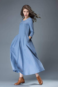Linen dress for women, Maxi dress pockets, linen dress, long linen dress, womens dresses, loose linen dress, pleated dress, blue dress C811