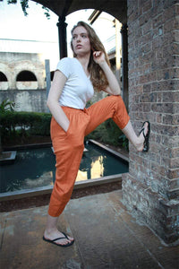 Orange linen pants, orange pants, summer pants, linen pants, tapered pants, casual pants, womens pants, cuatom pants C1472