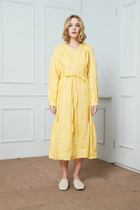 Linen dress, Drawstring Casual Dress, yellow linen dress, womens dress, long sleeve linen dress, v-neckline linen dress C1408