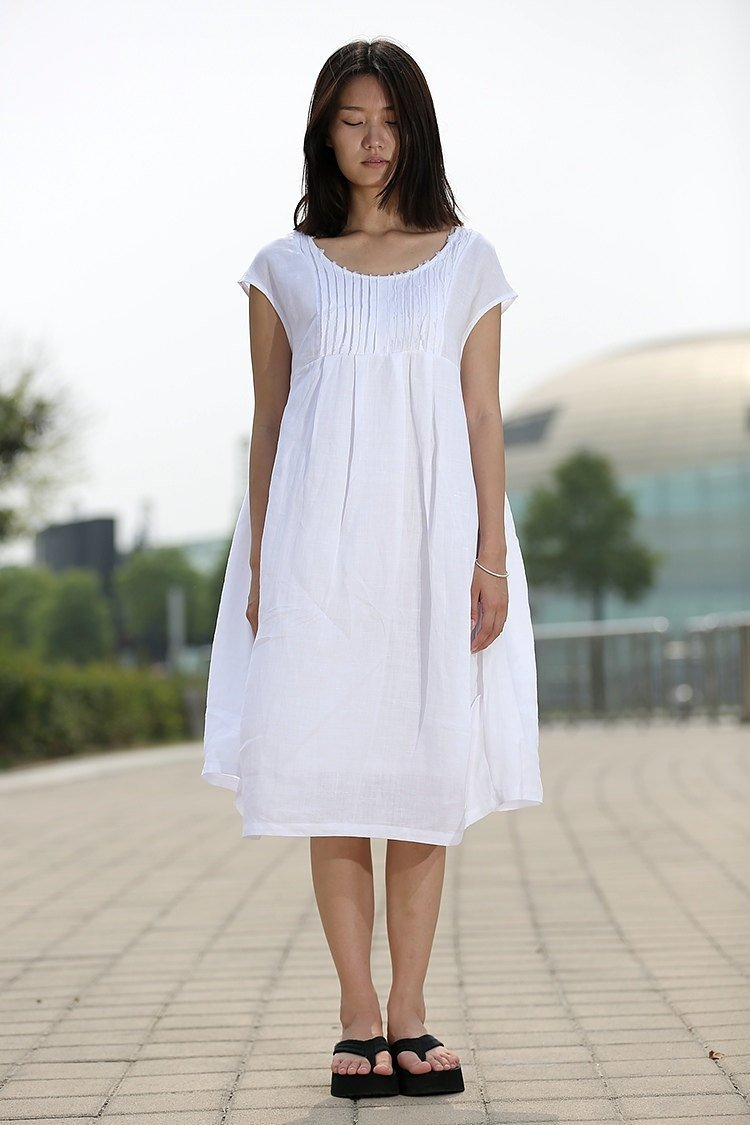White Cotton Boho Dress - Cool Loose-Fitting Midi Length Summer Floaty Dress with Pintucks and Cap Sleeves C260