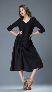 Black Linen Dress - Casual Everyday Comfortable Loose-Fitting Contemporary Mid-Length Woman's Handmade Dress C838